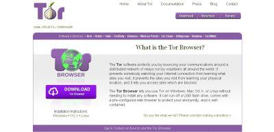 Captura de pantalla de la página principal de Tor